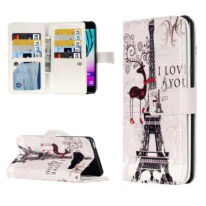 For Galaxy A3 (2016) / A310 Deer and Tower Pattern Horizontal Flip Leather Case with 9 Card Slots & Wallet & Holder