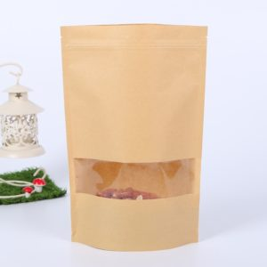 50 PCS Zipper Self Sealing Kraft Paper Bag with Window Stand Up for Gifts/Food/Candy/Tea/Party/Wedding Gifts, Bag Size:9x14+3cm(Frost)