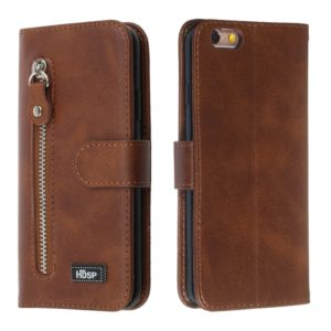 For iPhone 6s / 6 Zipper Horizontal Flip Leather Case with Wallet & Holder & Card Slots(Brown)
