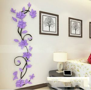 3D Wall Stikcers Flower Shape Acrylic Fashionable Detachable Waterproof DIY Wall Stickers Home Decoration, Size:200x60CM(Black+Purple Right)