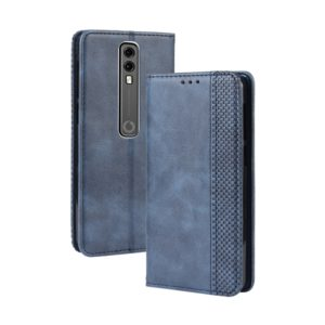 Magnetic Buckle Retro Crazy Horse Texture Horizontal Flip Leather Case for Vodafone Smart V10 (VFD730) , with Holder & Card Slots & Photo Frame(Blie)