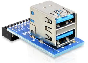 Delock USB3.0 Pin Header female to 2xUSB3.0 female - up, stacked (41865)