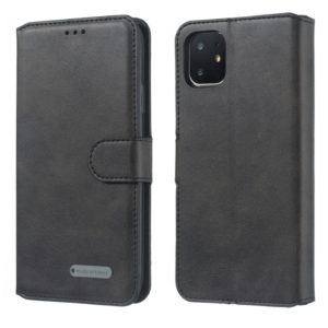 For iPhone 11 Solid Color Buckle Horizontal Flip Leather Case with Wallet & Holder & Card Slots(Black)