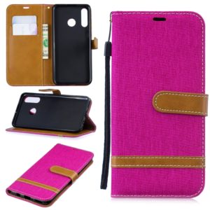 Color Matching Denim Texture Leather Case for Xiaomi Redmi 7, with Holder & Card Slots & Wallet & Lanyard(Rose Red)