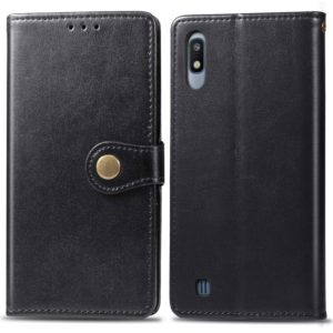 Retro Solid Color Leather Buckle Mobile Phone Protection Leather Case with Photo Frame & Card Slot & Wallet & Bracket Function for Galaxy A10(Black)