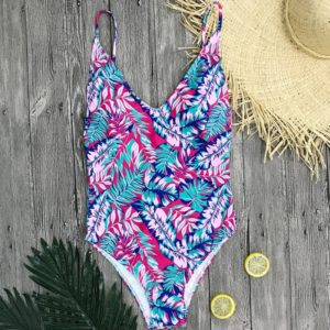 Sexy One-piece Printed Backless Bikini Swimsuit for Women, Size:S(BR18033B1)