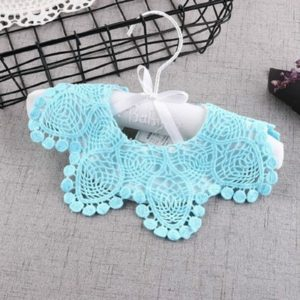 Cotton Lace Female Baby Bib Princess Bib Saliva Towel 360 Degree Rotation Child Fake Collar Decoration, Color:Pineapple Flower Lake Blue