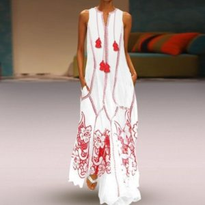 Sleeveless V-neck Printed Loose Beach Dress (Color:White Size:M)