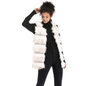 Woolen Vest Warm And Loose Long Coat (Color:White Size:XL)