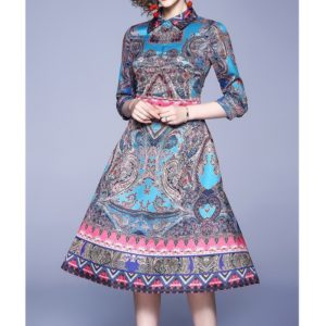 Temperament Dress (Color:Multi Size:colored-S)