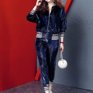 Fashion Casual Suit Female (Color:Blue Size:M)
