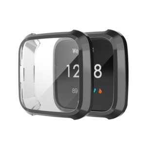 For Fitbit Versa Lite Smart Watch Full Coverage Plating TPU Protective Case(Black)