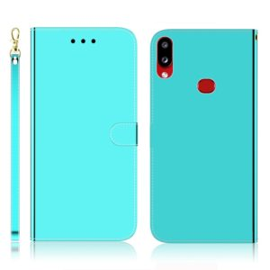 For Galaxy A10s Imitated Mirror Surface Horizontal Flip Leather Case with Holder & Card Slots & Wallet & Lanyard(Mint Green)