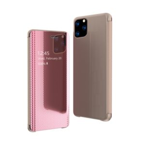 For iPhone 11 Pro Max Ultra-Thin Light Weight Grid Plated Mirror Phone Case(Rose Gold)