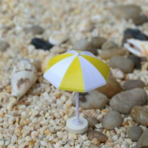 2 PCS Miniature Sun Umbrella DIY Home Garden Decoration Cute Umbrella Table Ornament Handicrafts, Size:M(Yellow)