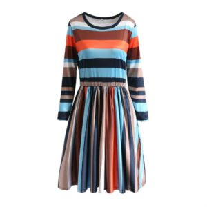 Round Neck Striped Stitching Color Long-sleeved Casual Head A Style Dress, Size: L(Blue Stripe)