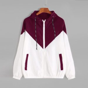 Women Jackets Female Zipper Pockets Casual Long Sleeves Coats Autumn Hooded Windbreaker Jacket, Size:L(Fuchsia)
