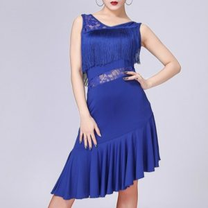 Latin Dance Dress Women Tassel Tango Dress Dance Skirt Dancewear, Size:M(Blue)