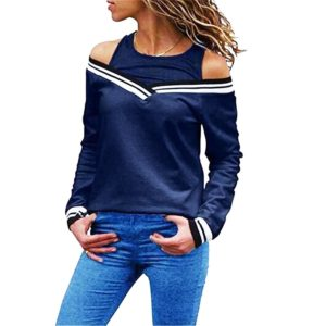 Ladies Fake Two-Piece Small Sweater Long-Sleeved Striped Loose T-Shirt, Size: L(Navy Blue)