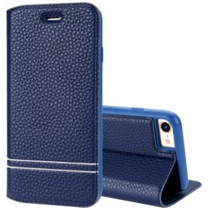 For iPhone 8 & 7 Litchi Texture Horizontal Flip Leather Case with Holder & Card Slots (Blue)