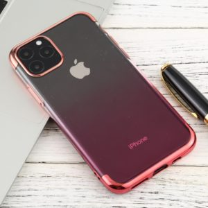 For iPhone 11 Pro Max Transparent Gradient TPU Anti-Drop And Waterproof Mobile Phone Protective Case(Pink)