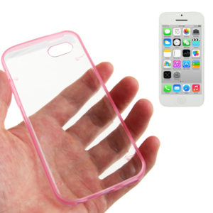 Transparent Smooth Surface Plastic Case with Fluorescent Effect TPU Frame for iPhone 5C(Pink)