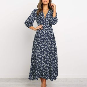 Long-sleeved Printed V-neck Single-breasted High Waist Chiffon Dress, Size: M(Navy Blue )