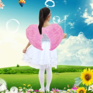 Mini Angel Feather Wings Photo Prop Stage Show Halloween Costume Wedding Party Supplies, Size: 45 x 35cm, Recommended Height: 70-110cm(Pink)