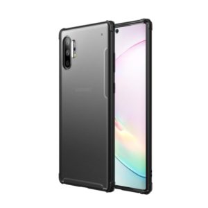 For Galaxy Note 10+ Four Corners Anti-Fall Acrylic +TPU Transparent Frosted Armor Protective Case(Black)