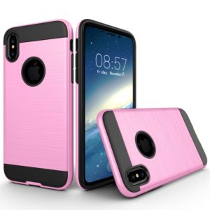 For iPhone X / XS Brushed Texture TPU + PC Dropproof Protective Back Cover Case (Pink)