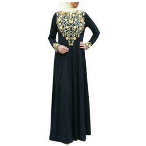 Women Print Long Sleeve Dress, Size:L(Black)