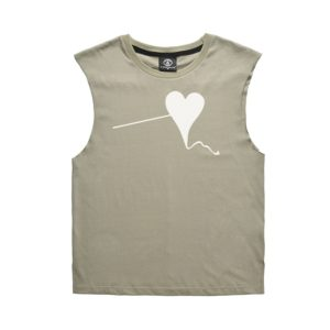 Summer Kite Heart-shaped Printing Cotton Loose Vest T-shirt, Size: XXL(TW903229#Green)
