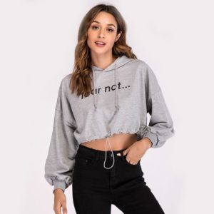 Round Neck Hooded Long Sleeve Casual Short Letter Print Sweatshirt (Color:Grey Size:L)