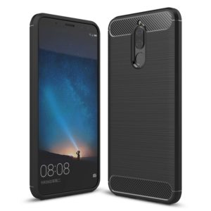 For Huawei Maimang 6 Brushed Carbon Fiber Texture TPU Shockproof Anti-slip Soft Protective Back Cover Case(Black)