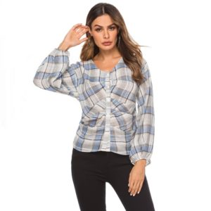 Women V-neck Wrinkled Plaid Round Neck Puff Sleeve Shirt (Color:Blue Size:XL)