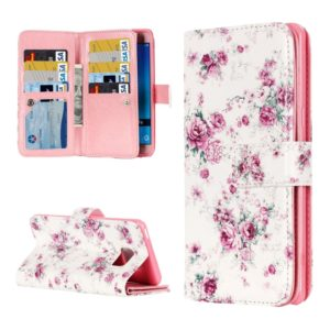 For Galaxy J5 (2016) / J510 Rose Pattern Horizontal Flip Leather Case with 9 Card Slots & Wallet & Holder