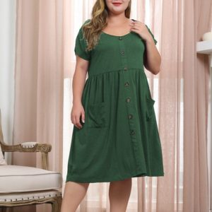 Round Neck Raglan Sleeve Buckle Double Side Pockets Large Size Dress (Color:Green Size:XXL)