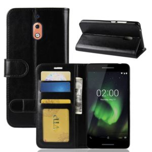 PU + TPU Crazy Horse Texture Horizontal Flip Leather Case for Nokia 2.1, with Wallet & Holder & Card Slots (Black)