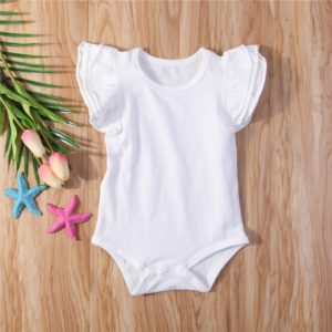 Summer Baby Cotton Ruffled Short-sleeved Round Neck Triangle Romper, Size:90cm(White)