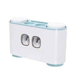 Automatic Toothpaste Dispenser Dust-proof Toothbrush Holder with Cups No Nail Wall Stand Shelf Bathroom Organizer(Blue)