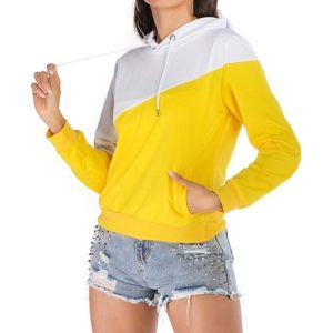 Hooded Stitching Contrast Long Women Sweatshirt (Color:Yellow Size:XL)