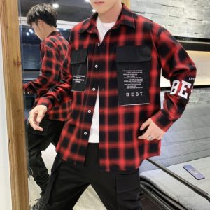 Long Sleeve Casual Versatile Tooling Shirt Jacket for Men, Size: XXL(Red)