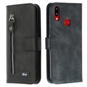 For Galaxy A10s Zipper Horizontal Flip Leather Case with Wallet & Holder & Card Slots(Black)