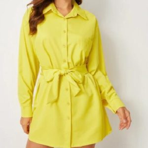 Belt Fashion Simple Single-breasted Shirt Dress (Color:Yellow Size:XL)
