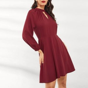 Elegant Temperament Thin Lantern Sleeve Dress (Color:Wine Red Size:M)