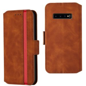For Galaxy S10e Retro Frosted Oil Side Horizontal Flip Case with Holder & Card Slots(Brown)