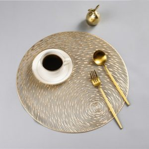 2 PCS Fashion Round Hollow Placemats PVC Table Mats Coffee Cup Pad(Gold)