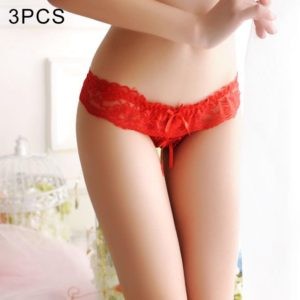 3 PCS FunAdd Women Transparent Open Crotch Panties Low-waisted Lace Sexy Enticing Thongs Panties, Free Size (Red) (FunAdd)