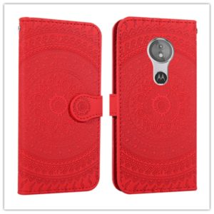 For Motorola Moto G7 Play Pressed Printing Pattern Horizontal Flip PU Leather Case with Holder & Card Slots & Wallet & & Lanyard(Red)