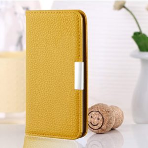 For iPhone 6 Litchi Texture Horizontal Flip Leather Case with Holder & Card Slots(Yellow)